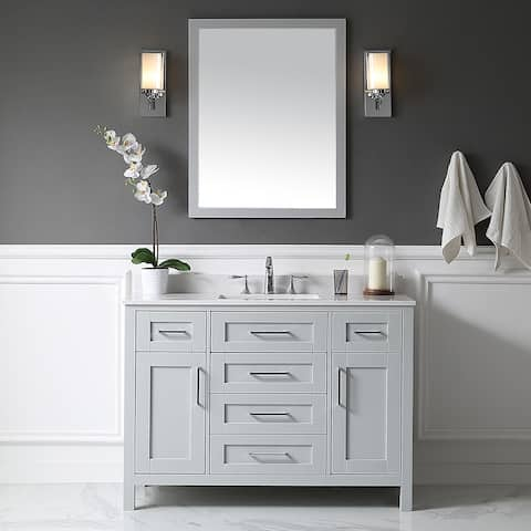 Tahoe 48in. Vanity in Dove Grey with White Cultured Marble Top and Mirror