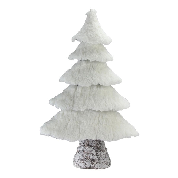 """20.5"""" Rustic Birch Wood Tree with Faux Snow Canopy Christmas Decoration"""