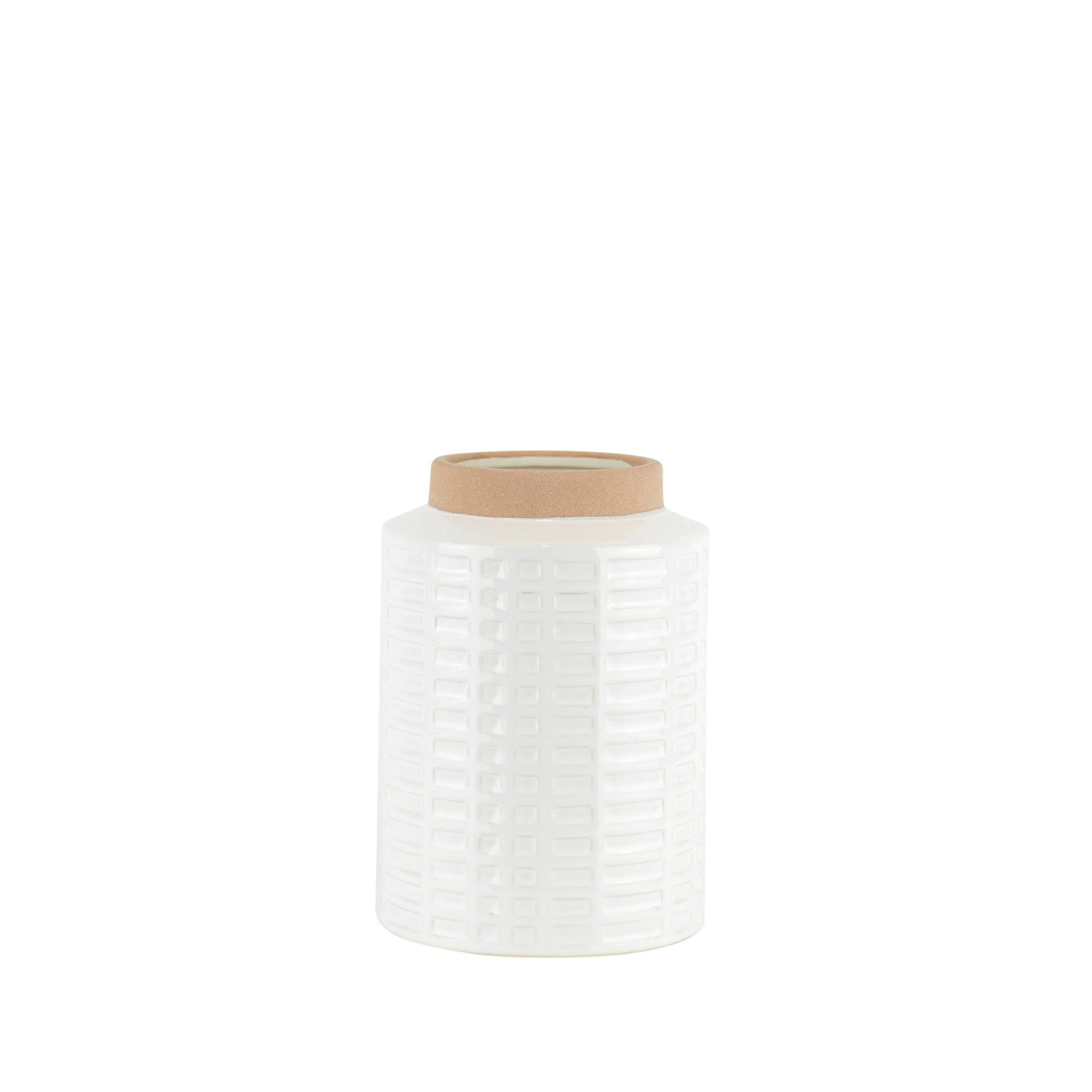Ceramic Rim Vase with Embossed Geometric Design, White and Brown