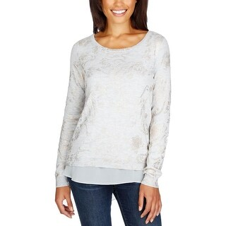 Lucky Brand Womens Pullover Sweater Printed Contrast-Hem