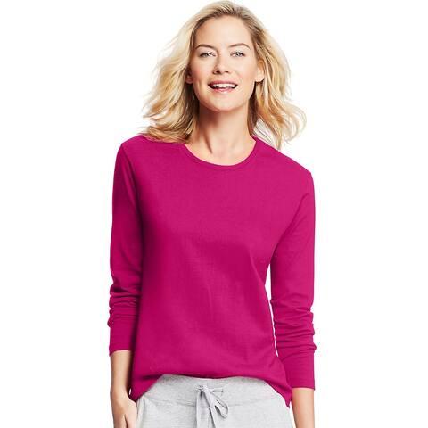 Hanes Women's Long-Sleeve Crewneck T-Shirt - Size - L - Color - Sizzling Pink