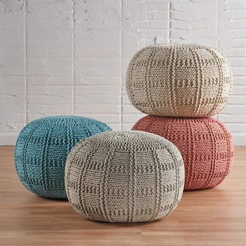 Yuny Handcrafted Modern Fabric Pouf by Christopher Knight Home