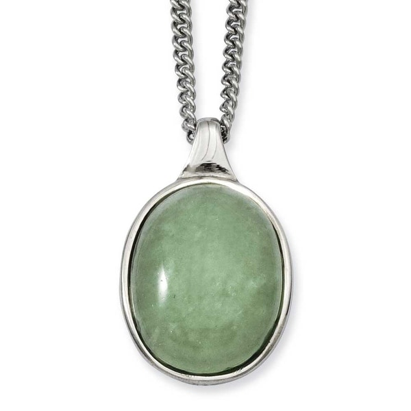 Stainless Steel Green Aventurine Pendant 18in Necklace (2 mm) - 18 in