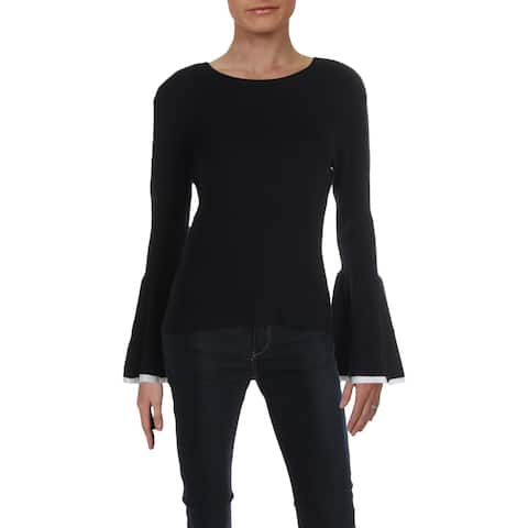 Matty M Womens Pullover Sweater Ribbed Crewneck - Black - L