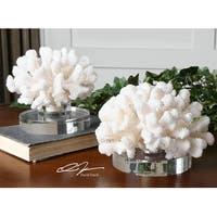 Set of 2 Tropical Ocean Hard Creamy White Coral Sculptures with Crystal Bases