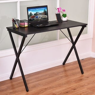 Costway Computer Desk Wood Metal PC Laptop Table Writing Study Workstation Home Office