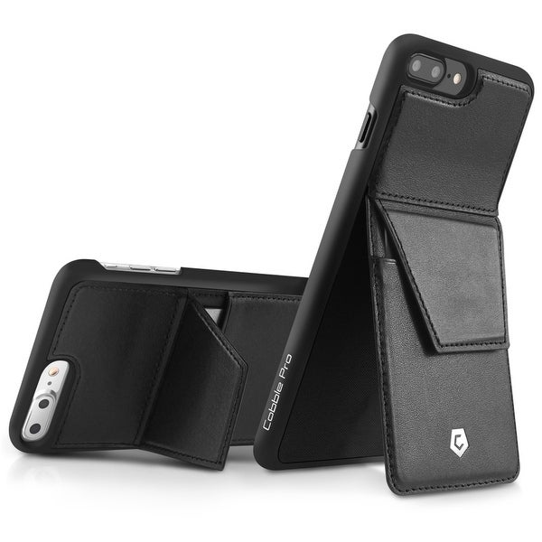 CobblePro Black Genuine Leather with Stand/ Wallet Flap Pouch For Apple iPhone 7 Plus