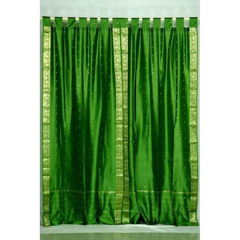 Forest Green Tab Top Sheer Sari Curtain / Drape / Panel - Pair