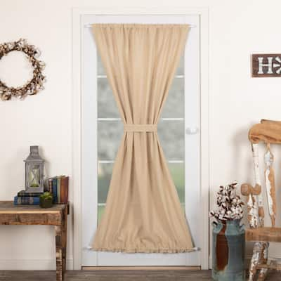 Farmhouse Curtains VHC Cotton Burlap Door Panel Rod Pocket Solid Color - Door Panel 72x40 - Door Panel 72x40