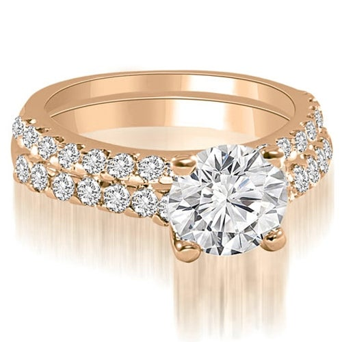 1.10 cttw. 14K Rose Gold Cathedral Round Cut Diamond Bridal Set