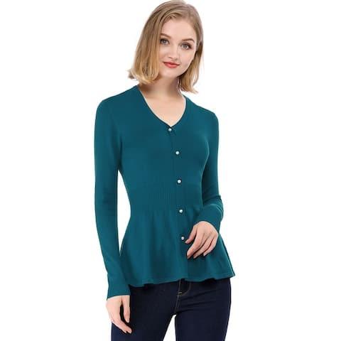 Women's Peplum Sweater Smocked Long Sleeve Knit Tops