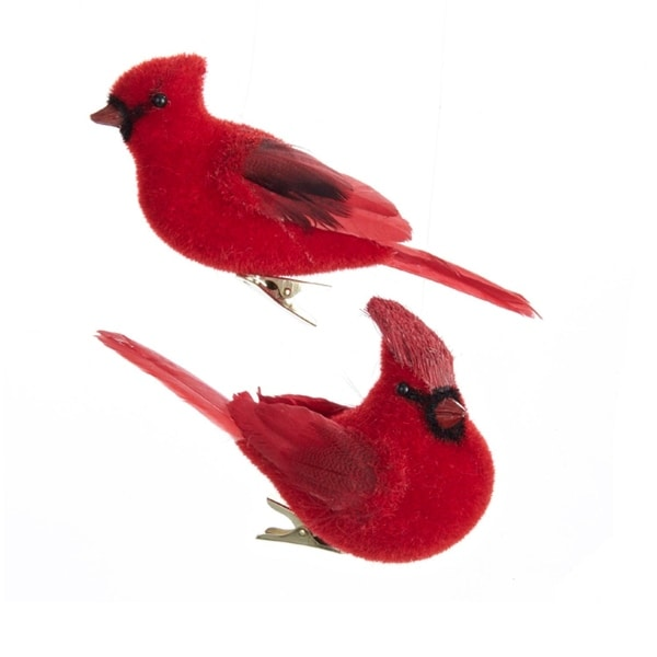 Shop Club Pack of 12 Red Flocked Cardinal Bird Decorative Christmas Ornaments - Free Shipping Today - Overstock - 16619372