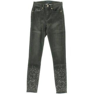Juicy Couture Black Label Womens Embellished Denim Skinny Jeans
