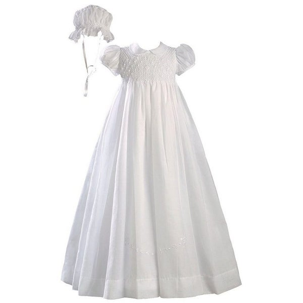 Baby Girls White Hand Smocked Polycotton Batiste Bonnet Christening Gown - 3-9 months