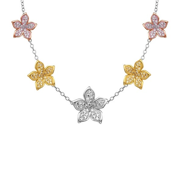 Crystaluxe Flower Station Necklace with Swarovski elements Crystals in 18K Two-Tone Gold-Plated Sterling Silv