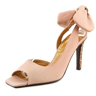 J. Renee Enchanted Women W Peep-Toe Canvas Nude Heels