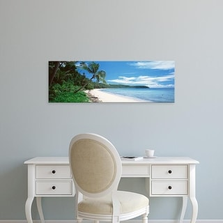 Easy Art Prints Panoramic Images's 'Palm trees on the beach, Nananu