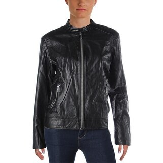 MICHAEL Michael Kors Womens Motorcycle Jacket Faux-Leather Coated - l