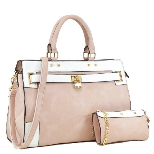 Dasein Vegan Leather Padlock Satchel Handbag with Shoulder Strap. Opens flyout.