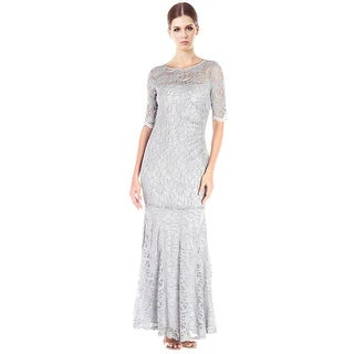 XSCAPE Shimmer Lace Short Sleeve Mermaid Evening Gown Dress