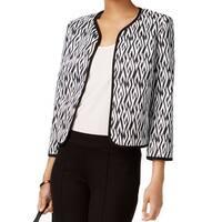 Kasper NEW Black White Women's Size 16 Open-Front Printed Jacket
