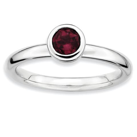 Sterling Silver Stackable Polished Low 5mm Round Rhodolite Garnet Ring by Versil