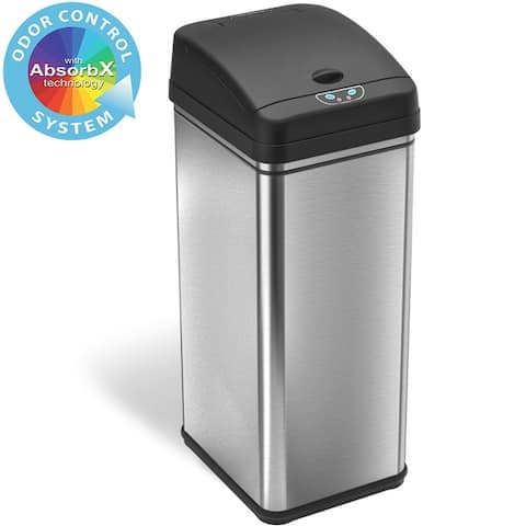iTouchless 13-gal Deodorizer Filtered Stainless Steel Sensor Trash Can