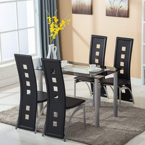 110cm Dining Table Set Tempered Glass Dining Table with 4pcs Chairs