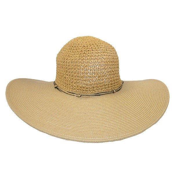 Dynamic Asia Women's Wide Brim Straw Hat with Crochet Crown and Shell Charms