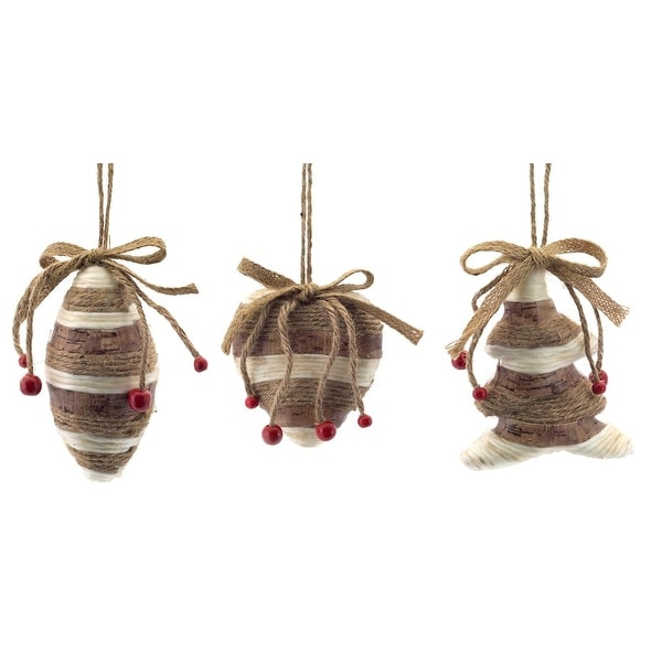 "Club Pack of 12 Brown and Beige Twine Wrapped Finial, Onion and Christmas Tree Ornaments 4""-5"""
