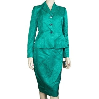 Kasper NEW Green Women's Size 8 Notched Printed Seamed Skirt Suit Set