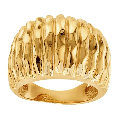 Ribbed Cigar Band Ring in 18K Gold-Plated Bronze, Made in Italy - Yellow