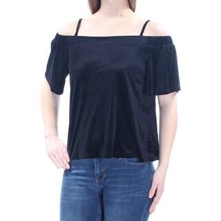 Womens Black Spaghetti Strap Off Shoulder Top Size M