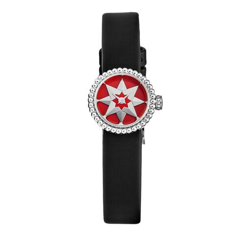Christian dior women's cd040112a004 'la d de dior mini' red lacquer dial satin strap swiss quartz watch