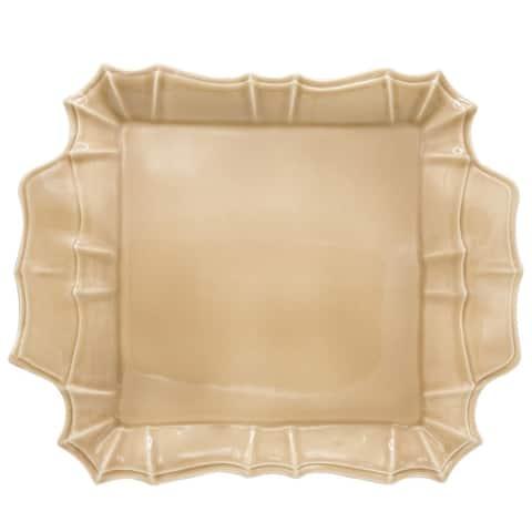 "Euro Ceramica Chloe 16"" Square Platter with Handles"