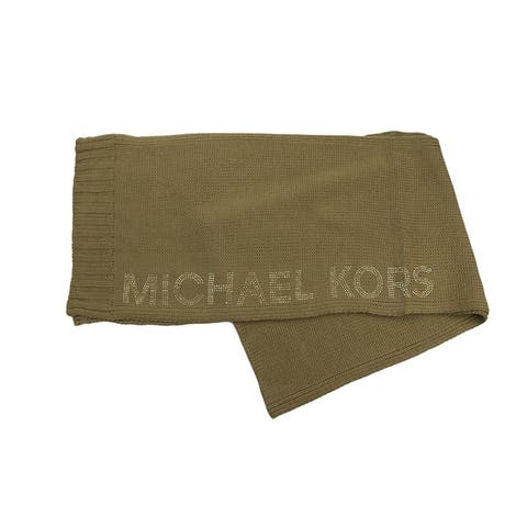 Michael Kors Heat Seal Studded Logo Scarf - Camel/Gold