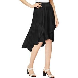 NY Collection Womens Pleated Skirt Chiffon Asymmetric