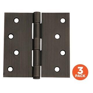 "Design House 181-43 4"" x 4"" Square Plain Bearing Mortise Hinge - Pack of Three H"