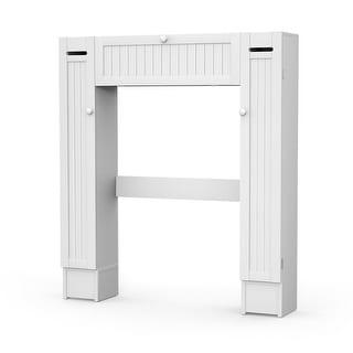 Costway Wooden Over The Toilet Storage Cabinet Drop Door Spacesaver Bathroom White