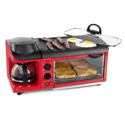 Nostalgia BST3RR Retro 3-in-1 Family Size Breakfast Station, Retro Red