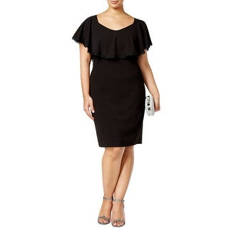 Betsy & Adam Plus Size Lace Trim Overlay Sheath Cocktail Dress Black