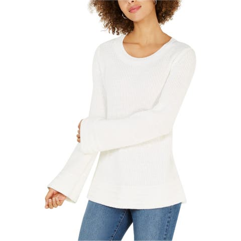 Style & Co. Womens Long Sleeve Pullover Sweater, White, Large