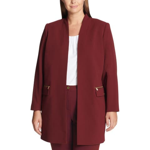Calvin Klein Womens Jacket Red Size 24W Plus Collarless Open Front