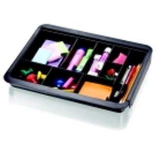 Plastic Expandable Drawer Tray, 10.63 x 13 x 1.63 In., Black