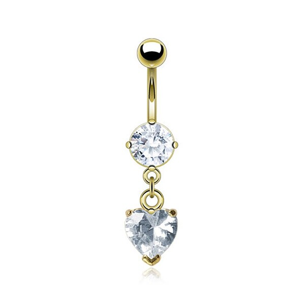 "Gold Plated Navel Belly Button Ring with Heart CZ - 14GA - 3/8"" Long - Clear"