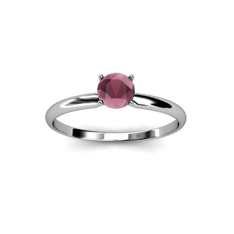 TriJewels Round Rhodolite Garnet 1/2 ct Womens Solitaire Engagement Ring 14K Gold