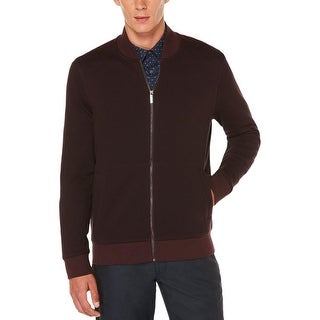 Perry Ellis Mens Full Zip Sweater Herringbone Signature