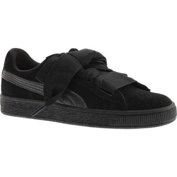 d8c5e0bd9a3 Shop PUMA Girls  Suede Heart Jr. Sneaker Puma Black Puma Black - On ...