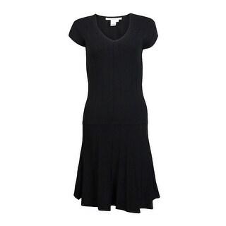 Studio M Women's Cap Sleeve V-neck Flare Hem Dress - Black