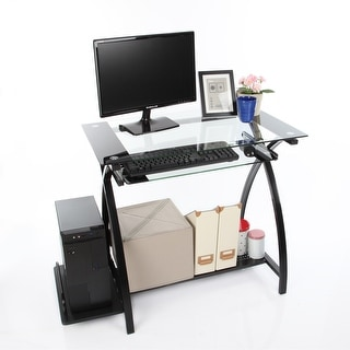 Glass Office Computer Desk With CPU Stand And Pullout Keyboard Tray